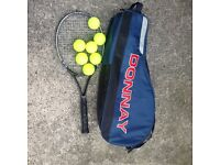 Vintage Donnay Tennis Bag With Tennis Balls and Slazenger Racket