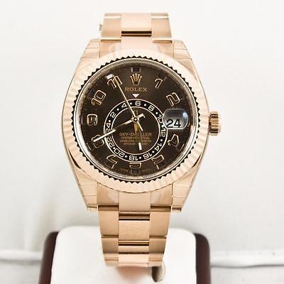 Unused Rolex 18k Rose Gold Sky Dweller Model 326935 Chocolate Arabic Dial W Card