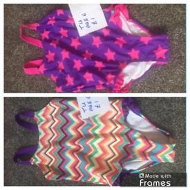 2x girls swimming costume age 6