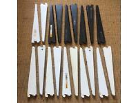 19x 270mm twin slot shelving brackets - 12x white / 7x black