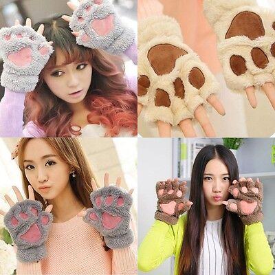 Fashion Cat Bear Paw Claw Half Finger Gloves Cute Warm Womens Xams Party - Cat Paw Gloves