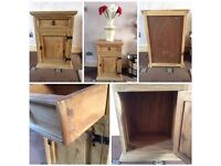 PINE CUPBOARD/BEDSIDE PINE STORAGE CUPBOARD WITH 1 DRAWER IDEAL SHABBY CHIC