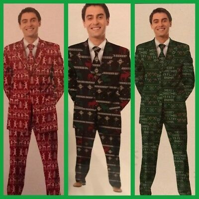 3 pc Ugly Christmas Novelty Party Suit Men's Red reindeer Green Filthy Animal