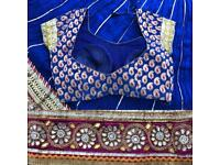 Crushed silk lengha
