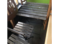 USED Table and two chairs wooden/metal from the cafe