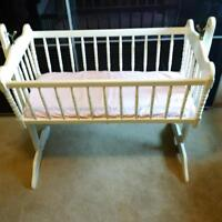 White Wooden Baby Cradle