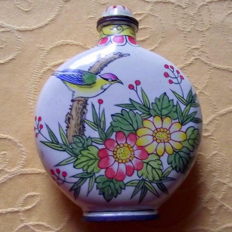Vintage Qianlong Signed Chinese Oriental Snuff Perfume Bottle Enamel on Copper E