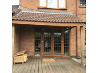 Wood frame and tiled canopy