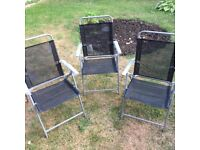 3 Folding Grey Patio Decking Garden Chairs 2 New 1 Barely used.