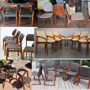 Danish MCM Teak Dining Chairs from $150, Teak Walnut Lounge and Armchairs, Walnut Sofa REFINISHED REUPHOLSTERED