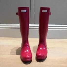NEW Bright Pink HUNTER Tall Wellington Boots/ Wellies