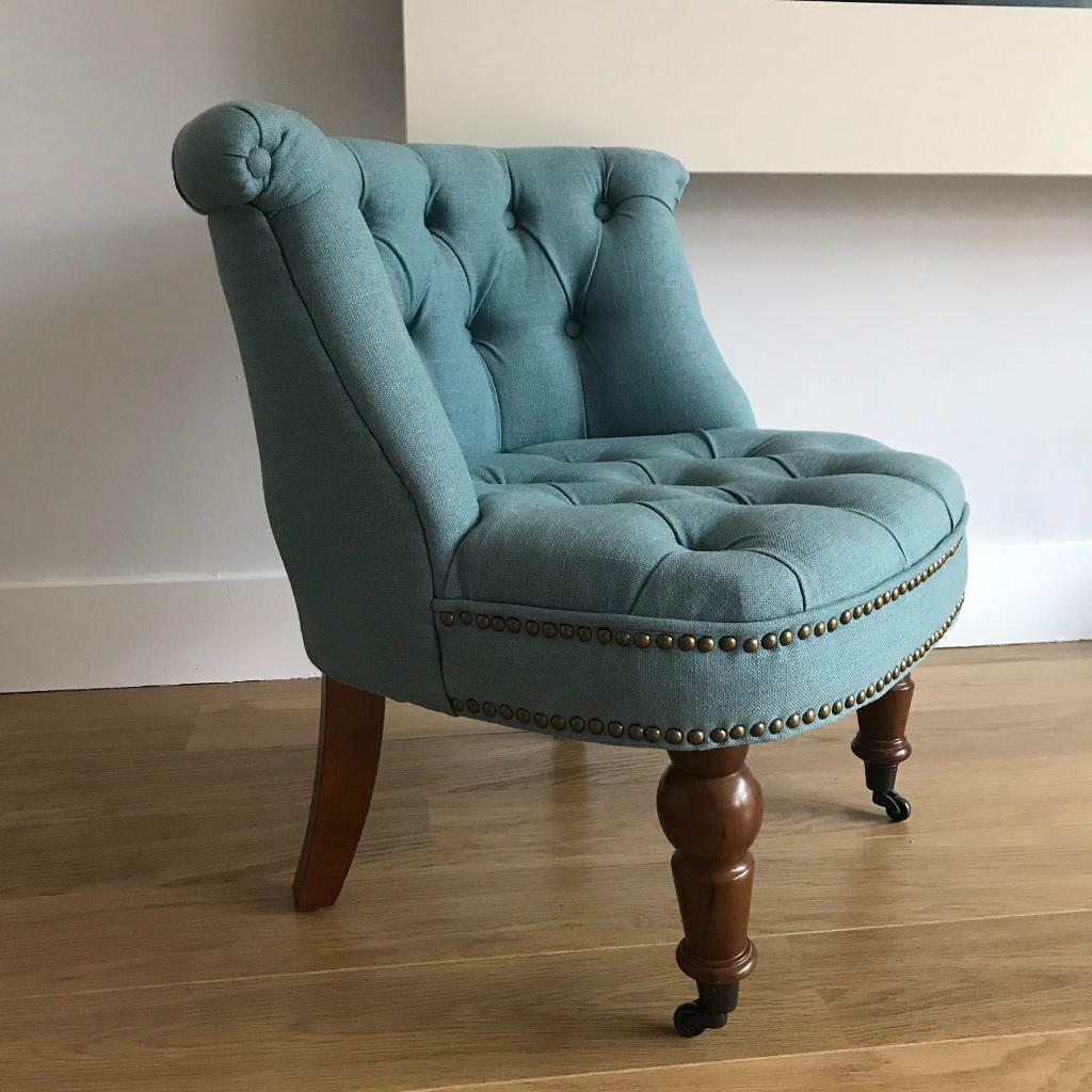Occasional Chair (small Armchair) In Duck Egg Blue