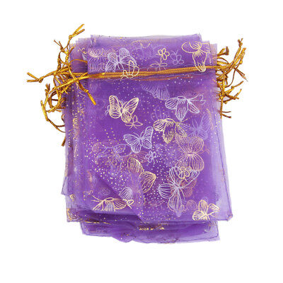 100 Purple Butterfly Organza Bag Wedding Gift Bag Jewelry Candy Pouch 12x9cm