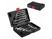 (NEW) Ratchet Spanner Tool Set 8-19mm Ratcheting Wrench Spanners Garage Chrome Case