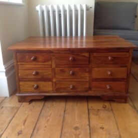 Solid wooden chest with drawers