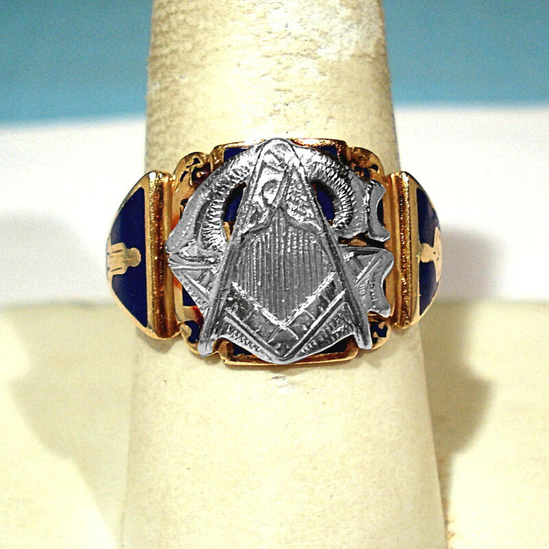 CRAFT SOLID 14K YELLOW GOLD & WHITE GOLD MASONIC RING ~ SIZE 10 1/2