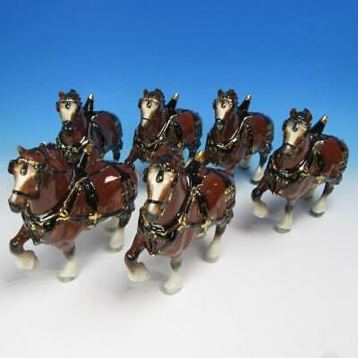 California Poppytrail Pottery by Metlox - 6 Budweiser Ceramic Clydesdale Horses