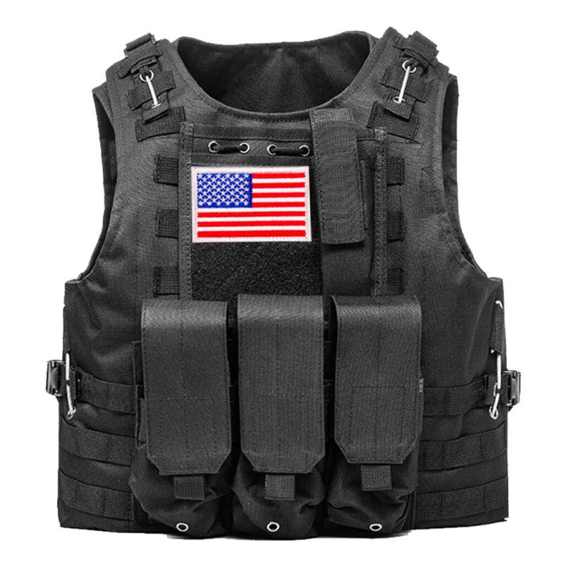 Military Tactical Vest w/Flag Patch Molle Combat Assault Plate Carrier Holder US