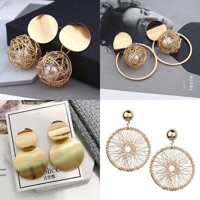 Mode charme frauen vergoldet runde perle baumeln ohrringe ohrstecker schmuck /LE Perle Ohrringe Baumeln