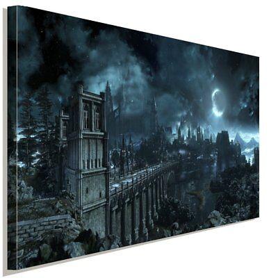 Schloss Leinwand Kunst (Dark Souls Nacht Schloss Leinwandbild AK Art Studio Wanddeko Wandbild Kunstdruck)