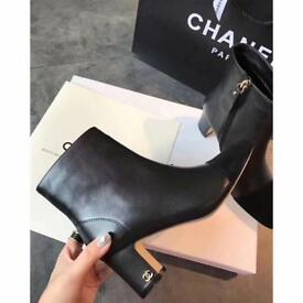 Chanel block heel ankle boots