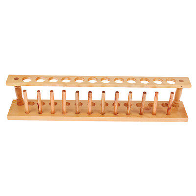 Wooden Test Tube Storage Rack With 12 Holes Chemical Experiment Stand Holder