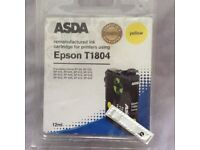 A Brand New and Unopened Asda Epson T1804 Yellow Ink Cartridge