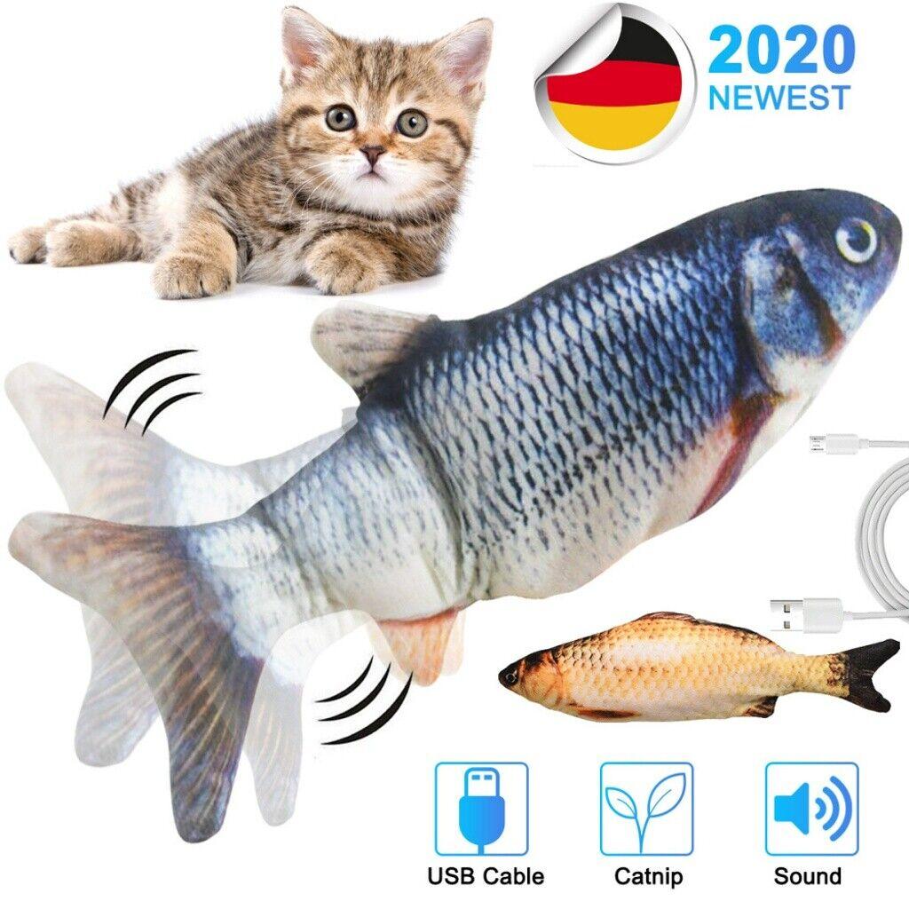 30cm Katzenspielzeug Elektrischer Graskarpfen Wagging Fisch Kratzbaum Kissen DHL