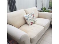 DFS beige/ cream fabric sofa. Hardly used, good condition. Reduced for quick sale!