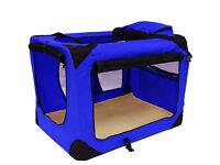 Lightweight Fabric Pet Carrier Crate with Fleece Mat Large 70 x 52 x 52 cm Blue Cat Dog