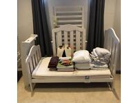 Crib/Cot bed Mamas & Papas with Changing Table Mattress, bedding and accessories