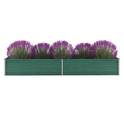 vidaXL Garden Planter Galvanised Steel 320x80x45cm Green Flower Box Raised Bed