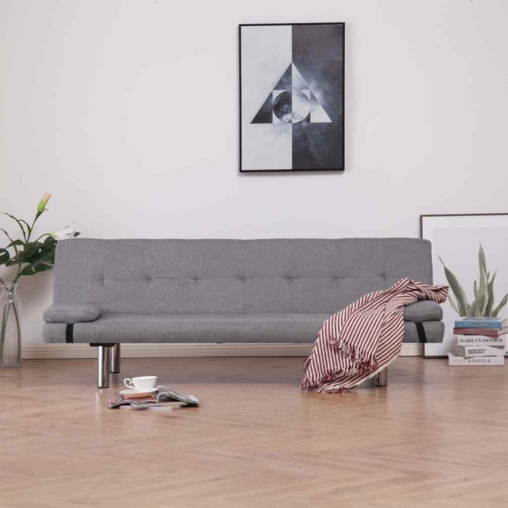 vidaXL Sofa Bed with Two Pillows Light Gray Fabric Couch Daybed Chaise Lounge