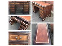 Traditional mahogany kneehole pedestal desk