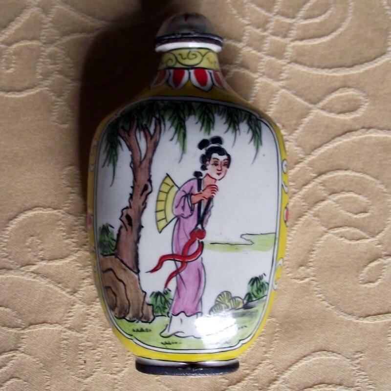 Vintage Qianlong Signed Chinese Oriental Snuff Perfume Bottle Enamel on Copper N