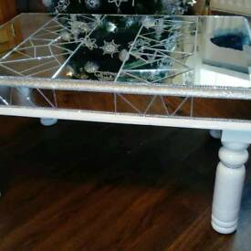 Upcycled coffee table cut mirror and glitter grouted with a touch of diamante bling and glitter edge