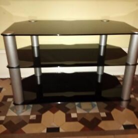 three-tier black glass TV stand or bench in pristine condition can deliver
