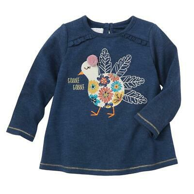Kids Thanksgiving (Mud Pie Kids Girls Thanksgiving Turkey Denim Blue Color Tunic)