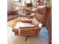Swedish Arne Norell Vatne Brown Leather Chrome High Back Swivel Armchair