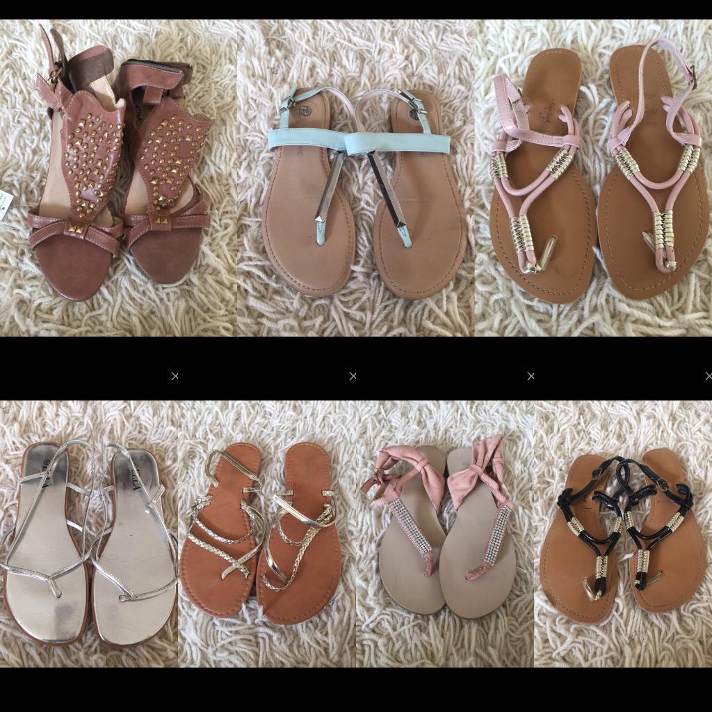 7 pairs of sandals
