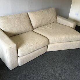 Two Seater Fabric Sofa in Oatmeal