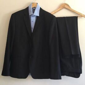 Men's Designer Paruchev Black 2 Piece Suit Jacket Blazer & Trousers | Small/Med.