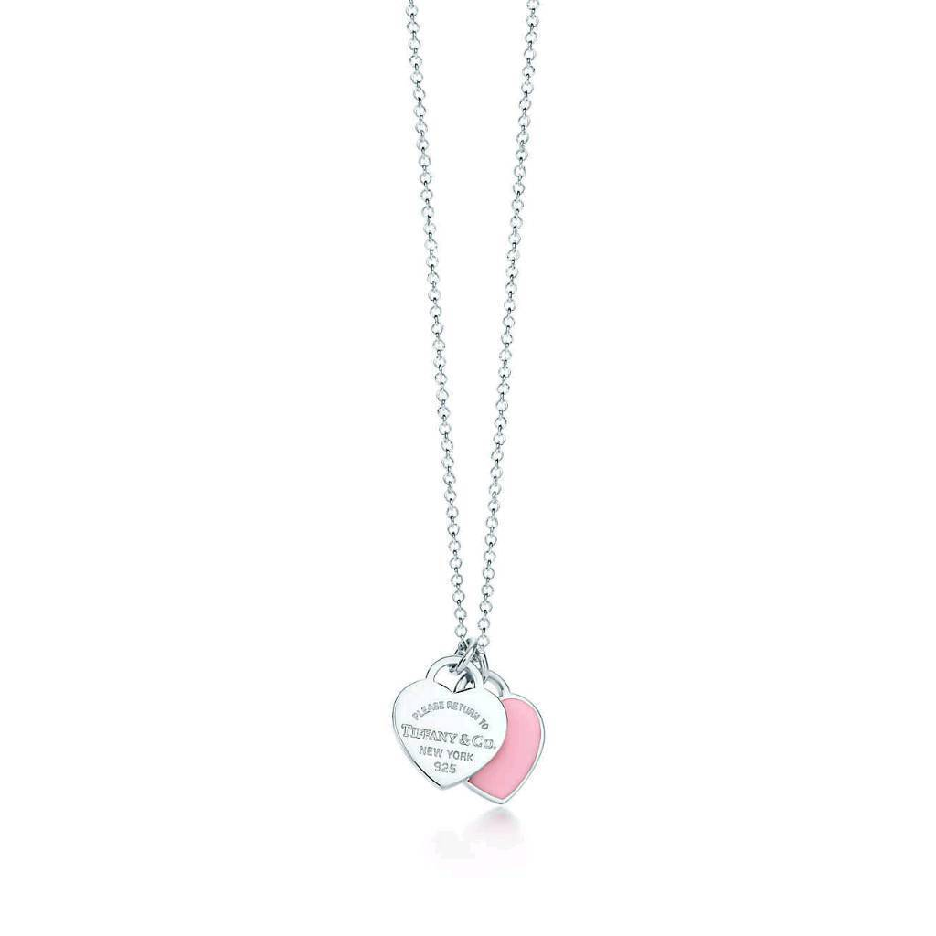 Tiffany&Co Return to Tiffany PINK Double Heart Tag Necklace with ORIGINAL gift packing