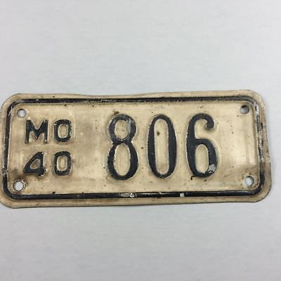 1940 Missouri Motorcycle License Plate Tag Vintage Antique Harley Indian BSA
