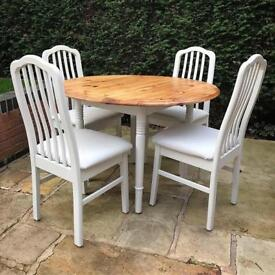 Solid Pine Kitchen Dining Table And Chairs