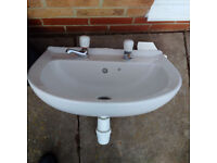 White bathroom sink and pedestal with taps - perfect condition