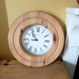 SOLID PINE WALL CLOCK WITH ROMAN NUMERALS
