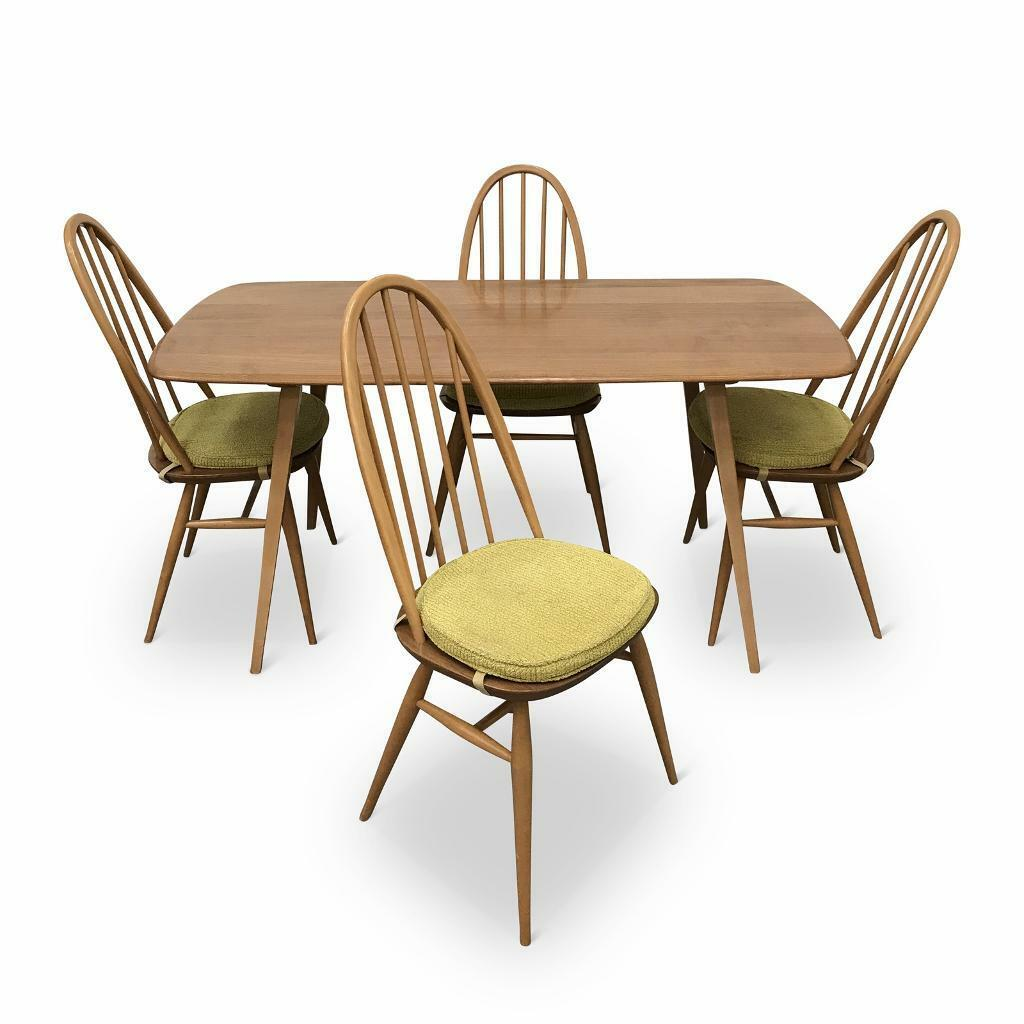 Sold Ercol Plank Table And Four High Back Windsor Chairs