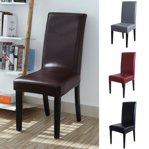 PU Stretch Dining Chair Covers Leather Home Seat Covers Wedd