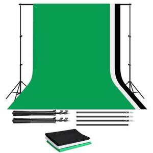2.6X3M Photo Lighting background Frame/ Photo Lighting Backdrop Kit with Green Black White Backdrops)
